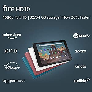 Fire HD 10 Tablet (10.1″ 1080p full HD display, 32 GB) – White