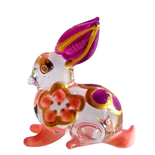 Sansukjai Rabbit Pendant Necklace Glass Animals Figurines Hand Blown Glass Art Jewelry Blown Glass - Jose Macy's Ca San