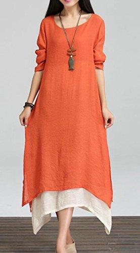 Cromoncent Femmes Ourlet Couches Col Ras Du Cou À Manches Longues Mode Asymétrique Robes Longues D'orange