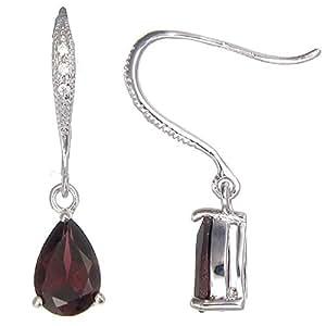 Vir Jewels Sterling Silver Garnet Earrings (1 CT)