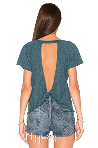 Blooming Jelly Women's Sexy Backless Short Sleeve Top Open Back Knot Casual Shirt Tee ()