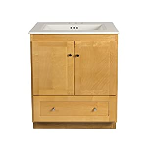 RONBOW Shaker 30 Inch Bathroom Vanity Set in Maple, Wood Cabinet with Two Wood Doors and Bottom Drawer, Ceramic Sinktop in White 080830-3-M01_Kit_1