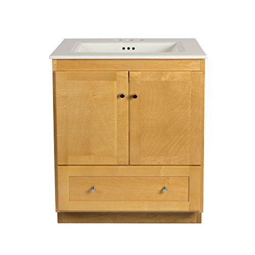 (RONBOW Shaker 30 Inch Bathroom Vanity Set in Maple, Wood Cabinet with Two Wood Doors and Bottom drawer, Ceramic Sinktop in White)
