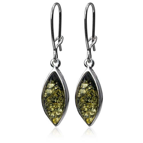 Green Amber and Sterling Silver Small Earrings ()