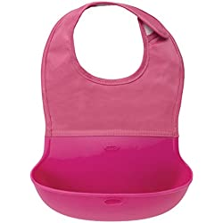 OXO Tot Waterproof Silicone Roll Up Bib with Comfort-Fit Fabric Neck, Pink