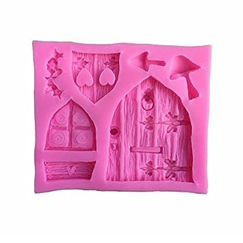 Monbedos Molde de Silicona 3D para Puerta, Forma de Ventana, decoración de Pasteles,