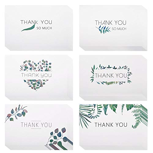 eZAKKA Thank You Cards, 48 Assorted Bulk Box Blank Watercolor Craft Green Leaves Thank You Card Greeting Note Cards for Wedding, Graduation, Baby Shower, Bridal Party, Business, Anniversary, Birthday