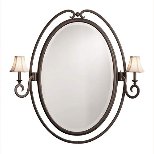 - Mirrors 2 Light with Black Tone Finished Brown Leather Shade E12 Bulb 43 inch 80 Watts