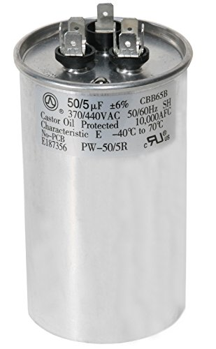 PowerWell 50 + 5 MFD uf PW-50/5/R 370 or 440 Volt Dual Run Round Capacitor for Condenser Straight Cool or Heat Pump Air Conditioner 50/5 Micro Farad - Guaranteed to Last 5 Years (Heat Capacitor Pump)