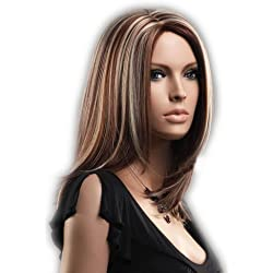 CoolMedium Length Gold And Brown Secondary Colors Natural Straight center part With Blonde Highlights Hair Style Women Wig