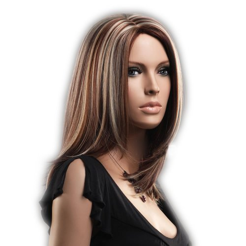 CoolMedium Length Gold And Brown Secondary Colors Natural Straight center part With Blonde Highlights Hair Style Women (Wigs Real Hair)