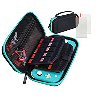 Halycon Nintendo Switch Lite Carrying case with 2X Screen Protector, Portable Switch Lite Case Hard Shell Accessories Kit for Switch Lite Case with 20 Game Slot Turquoise
