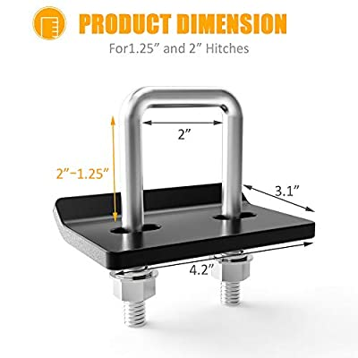 MICTUNING Hitch Tightener for 1.25 inches and 2 inches Hitches, Heavy Duty Anti-Rattle Stabilizer, Reduce Movement from Hitch Tray Cargo Carrier Bike Rack Trailer Ball Mount 2PCS: Automotive