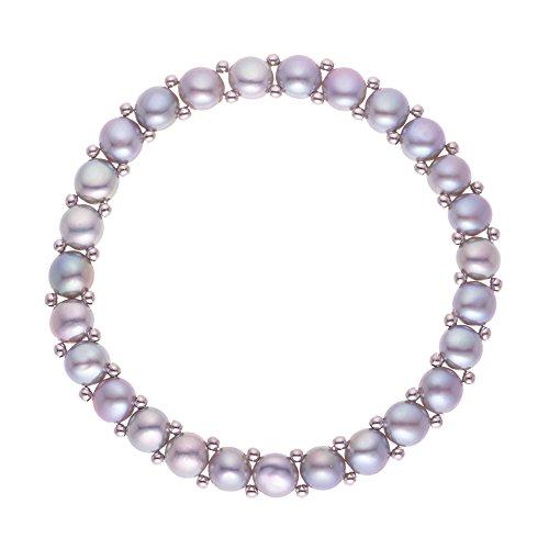 Pearls & Colors - Bracelet extensible - Acier - Perle - Perle d'eau douce - PC-BRC044-GR