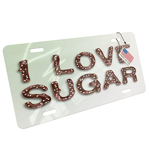 (NEONBLOND I Love Sugar Chocolate Fudge Sprinkles Aluminum License Plate)