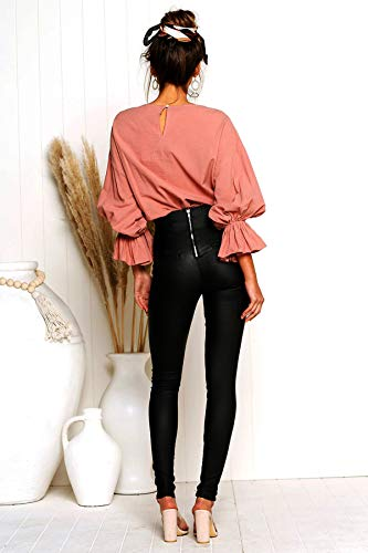 Tops Tees Casual Blouse Printemps Rouge Rond Unie Fashion Automne Femmes et Couleur Chemisier Flare Hauts Jumpers Col T Sleeve Shirts CzqTawC