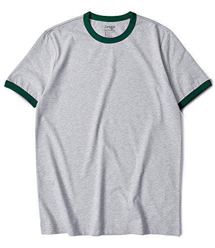- Zengjo Ringer Tee Men's Crew Neck Athletic T Shirts Short Sleeve Tops for Men (M, H.Grey/Pine Green)
