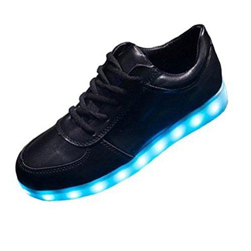 (Present:kleines Handtuch)JUNGLEST® 7 Farbe Lackleder High Top USB Aufladen LED Leuchtend Sport Schuhe Sportschuhe Sneaker Turnschuhe für Unisex-Erwachsene Schwarz