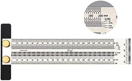 CarAngels ステンレススチール製 木工ケガキゲージ 90度定規 直角定規 止型スコヤ 穴付き 大工ケガキ工具 (200MM)