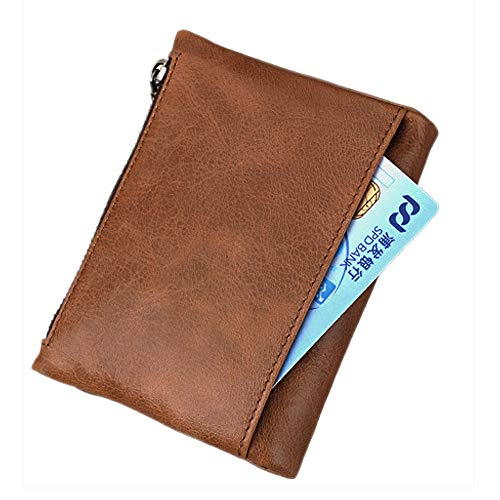 Purse Wallet Leather Coin Blocking brown Card Wallets Men's Pocket Credit RFID Holder Men B Hibate xUqw11