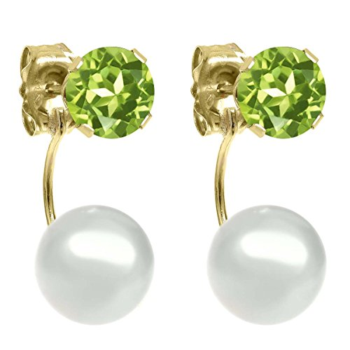 Gem Stone King 1.20ctw Round 5mm Green Peridot 14K Yellow Gold Stud Pearl Earrings