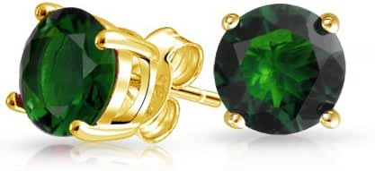 Bling Jewelry 925 Silver Gold Plated Simulated Emerald Round CZ Stud Earrings 7mm