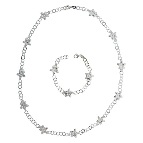Sterling Silver Flower Link Necklace and Bracelet Set (24 (Sterling Silver Flower Link Necklace)