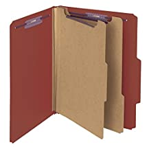 "Smead Pressboard Classification File Folder with SafeSHIELD Fasteners, 2 Dividers, 2"" Expansion, Letter Size, Red, 10 per Box (14075)"