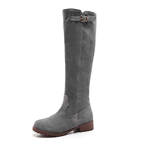 1TO9 Womens Buckle Cold-Weather Round Toe Gray Imitated Suede Boots - 7 B(M) - Us Coupon Sites