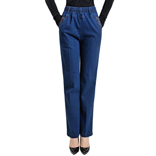 Zhuhaitf Belle Qualit Embroidery Ladies Mom Pants Spring Autumn Skinny Jeans for Women High Waist with Pockets Blue Black blue