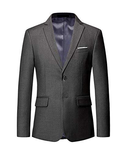 MOGU Mens Suit Jacket Slim Fit Single Breasted Two Button 10 Colors US 42 Asian 5XL Gray