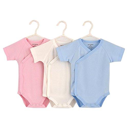 Blueleyu Unisex-Baby Short Sleeve Onsies Cotton Baby Bodysuit Pack of Cardigan Onsies for Infants, 6-9 Months, Solid (3-pack)