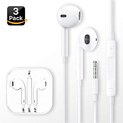 [3 Pack] Headphones/Earphones/Earbuds, Pavlysh 3.5mm Wired Headphones Noise Isolating Earphones Built-in Microphone & Volume Control Compatible iPhone iPod iPad Samsung/Android / MP3 MP4