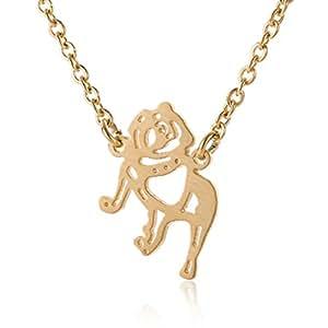 HUAN XUN French Bulldog Necklace Best Friend Dog Pet Charm Jewelry 18K Gold