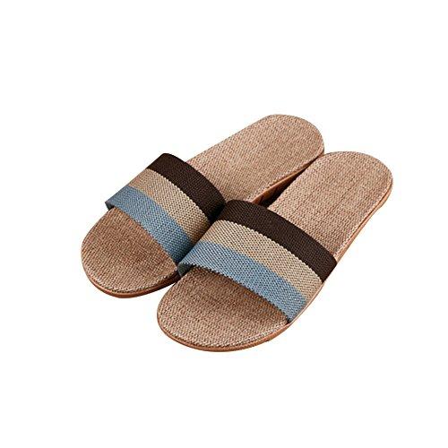 TELLW sbring Autumn Slippers women men Summer linen slippers couples home slippers indoor Anti-Stink wood flooring beach slippers Brown Blue YxfbyHAWt