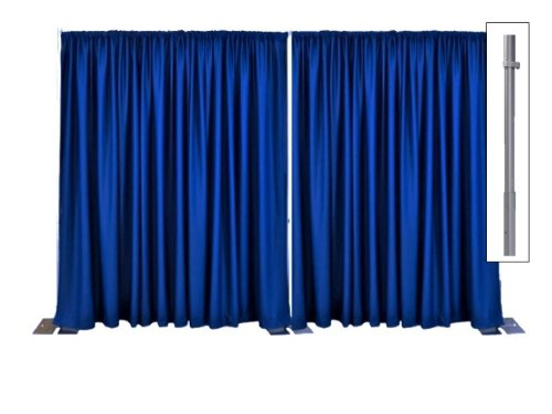 Adjustable Pipe and Drape Premier Backdrop Kit 14 ft. x 20 ft. - Silver