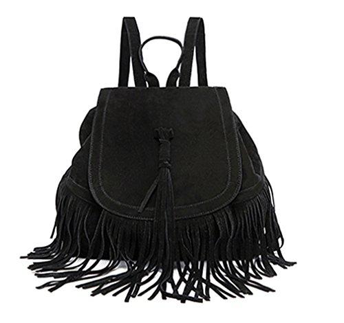 Sportliche Frauen Rucksack Mini Quasten Rucksack solide Frauen Schultertasche Schultertasche Veloursleder Leder Schultasche Black