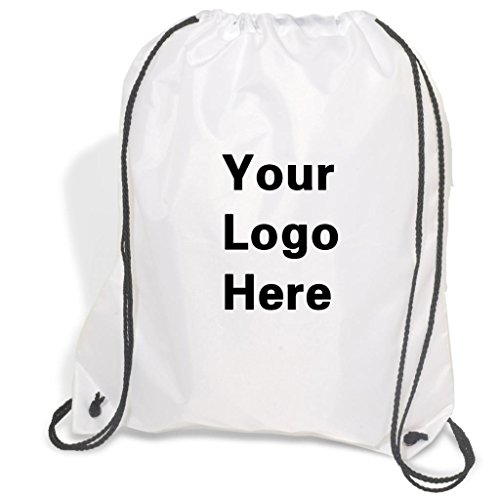 Promotional Drawstring Bag String-A-Sling Backpack- 15''w x 18''h flat bag- 100 Quantity - $1.83 Each -Promotional Products Bulk Custom Branded with YOUR LOGO for Free C2BPromo #C2BB0054H-White by C2BPROMO.COM YOU PRICE IT. WE DELIVER IT.
