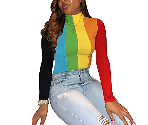 (Remelon Womens Long Sleeve Rainbow Stripe Print Turtleneck Pullover Slim Fit T Shirt Blouse Top Green L)