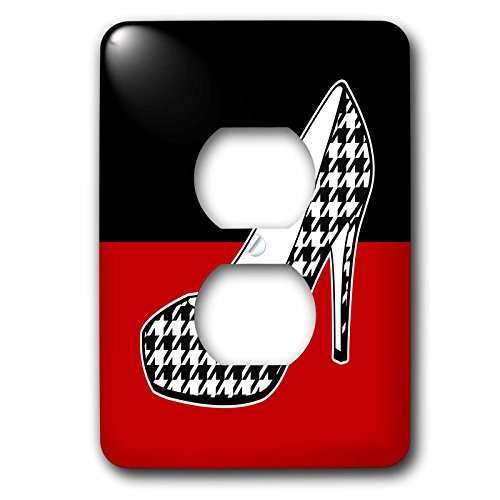 (3dRose lsp_57143_6 I Love Shoes Houndstooth Print High Heel Shoe On Black And Red 2 Plug Outlet Cover)