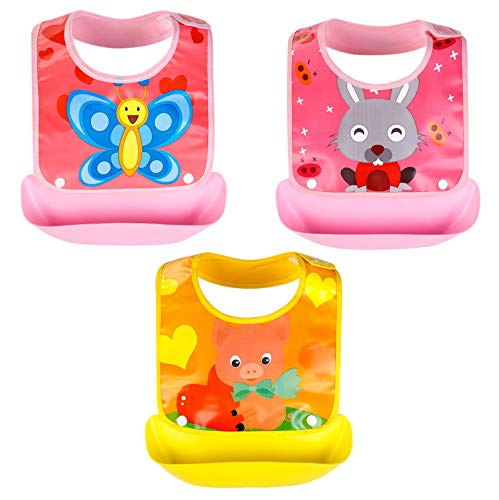 Growth Pal 3 Pack Waterproof Baby Bibs with Adjustable Snaps Easy to Clean Feeding Bibs for Girls-02