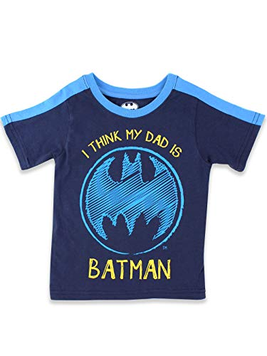 DC Comics Batman Toddler Boys Short Sleeve Tee (2T, Navy Dad Batman) Dad Short Sleeve Tee