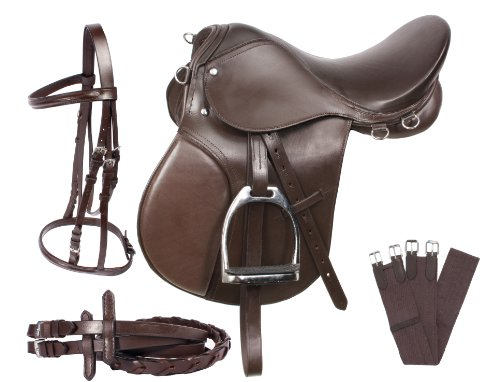 AceRugs 15 16 17 18 ALL PURPOSE ENGLISH LEATHER HORSE SADDLE SET BRIDLE REINS LEATHER IRONS GIRTH ()
