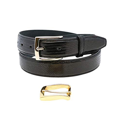 Size 36 Black Genuine Lizard Belt - 1 ¼ inch (32mm) Wide - Shiny Glazed - Gold and Silver Buckles Included - Factory Direct Price - Made in USA by Real Leather Creations FBA193