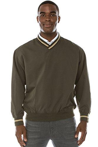 (JC DISTRO Mens Athletic Golf V-Neck Pullover W/Pockets Olive Windshirt Medium)