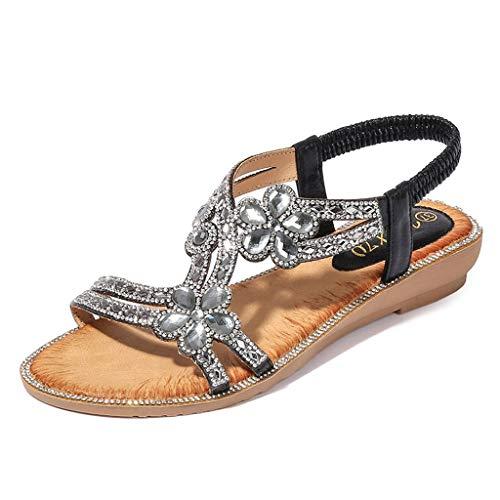 - chengzhijianzhu Women's Sandals Bling Crystal Peep Toe Flats Slip-On Flip-Flops Slides Basic Slingback Beach Slippers Shoes Black