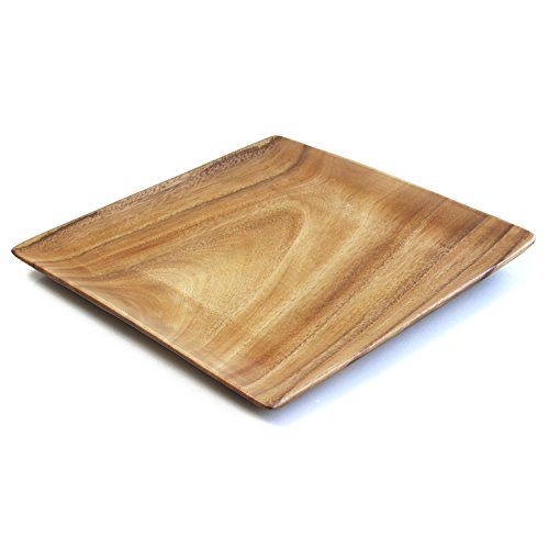 Wood 12 Inch Square Plate - 12-inch Square Plate, Appetizer Tray and Charger Plate, Set of 4