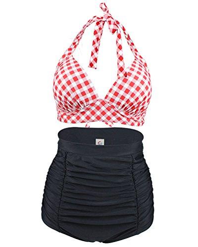 Tempt Me 2 Piece Vintage Plaid Halter Ruched Bikini With Boy Leg Bottoms 5 M