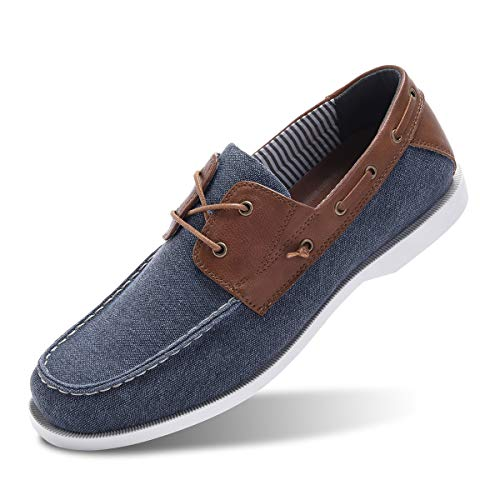 Classic Boat Shoes for Men-Smart Casual Work Loafer Stylish Moc Toe Walking Driving Shoes Blue 13 ()