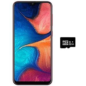 Samsung Galaxy A20 (32GB + 32GB SD Bundle) 6.4″ Fast Charge 4000mAh Battery US+Global 4G LTE Dual SIM GSM Unlocked A205G/DS International Model(Red)